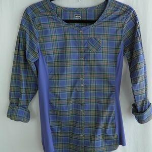 REI Periwinkle Plaid Hiking Shirt Size XS